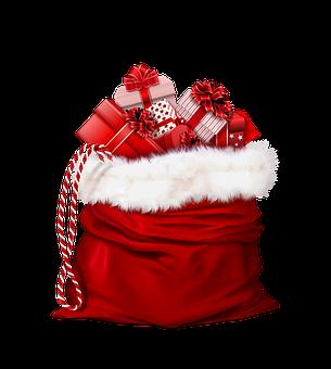 Hotte du Père Noël et cadeaux à l'intérieur