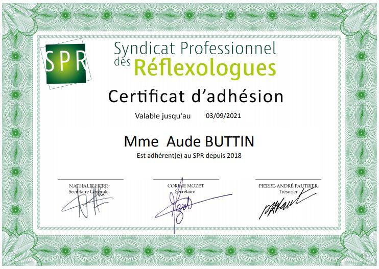 Certificat d'adhésion au SPR